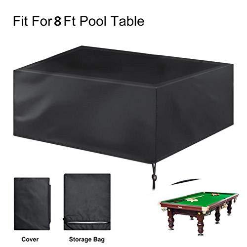 2,2 m Billardtisch-Abdeckung Vollschutz, 210D wasserdichter Oxford-Stoff Pooltisch Staubschutz mit Kordelzug für Snooker Billardtisch - Schwarz 260x135x82cm -
