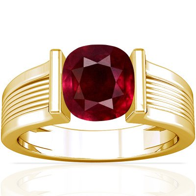 18K Yellow Gold Cushion Cut Ruby Solitaire Ring