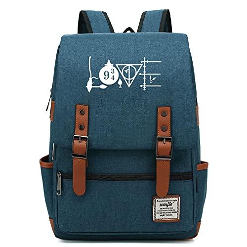 ANCHANG Harry P insignia College Bag Se adapta a hasta 15.6 '' Mochila informal para computadora portátil Mochila escolar impermeable L-16 pulgadas Color-17