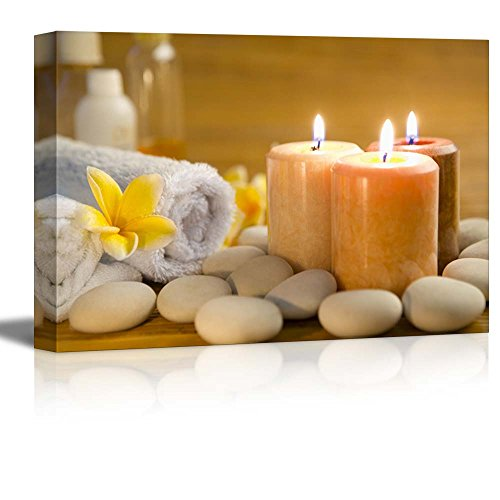 wall26 - Zen Stones Burning Candles in a Spa - Canvas Art Wall Art - 12'x18'