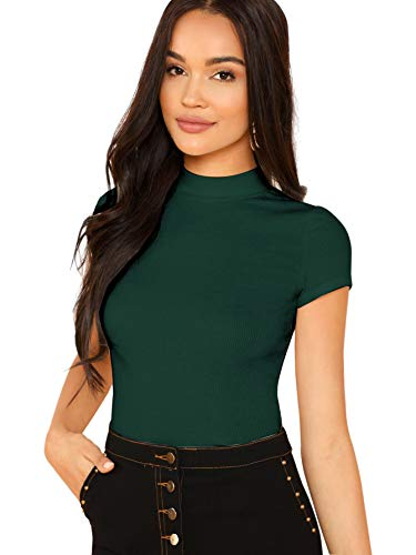 SheIn Women's Mock Neck Short Sleeve Slim Fit Knit Crop T-Shirts Medium Dark Green
