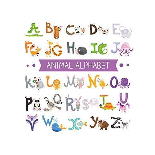QIA Alphabet ABC et Animaux Stickers muraux Enfants Stick Stickers muraux Amovibles pour Chambre d'enfant Chambre d'enfant (3pcs)