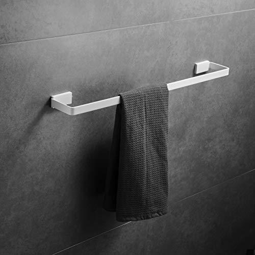 Toallero 40 cm de pared pintura blanca, acero inoxidable SUS 304, barra de toalla de baño, Beelee BA19301C-40