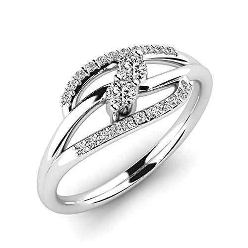 Anillo Finella de plata de ley 925 y cristales de Swarovski - Alternativa al anillo de diamantes - Elegante anillo de plata para mujer - Anillo de compromiso + Estuche