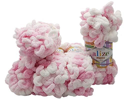 5 ovillos de lana Alize Puffy Color de 100 g, 500 gramos...