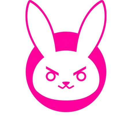 MAF - Overwatch D-VA Bunny Logo Vinyl Decal Pink 5.5' - Video Game Stickers for Laptop, Tablets, Cars