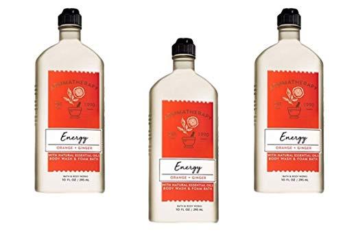 Bath & Body Works Aromatherapy Energy - Orange and Ginger Body Wash & Foam Bath, 10 Fl Oz, 3-Pack