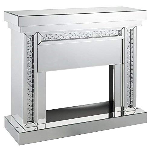 ACME Nysa Fireplace - - Mirrored & Faux Crystals
