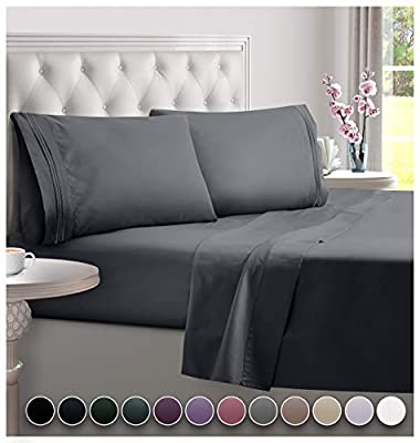 DREAMCARE Deep Pocket Sheets Microfiber Sheets Bed Sheets Set 4 Piece Bedding Sets Full Size, Dark Gray