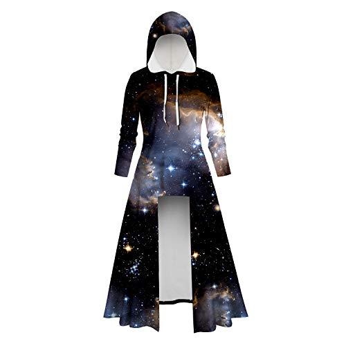 Aiserkly – Capa con capucha para mujer, blusa de manga larga, estampado en espiral, de alta calidad, para Halloween, cosplay, carnaval, disfraces, suéter X-c-negro. M