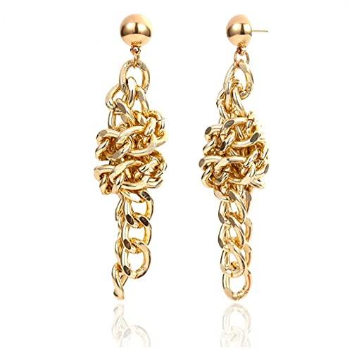 Pendientes de plata para mujer, Europa y América, diseño de cadena geométrica de metal dorado, con nudo grande, para mujer, niña, joyería, regalo para novia, esposa, hermana, hija, madre en Bi