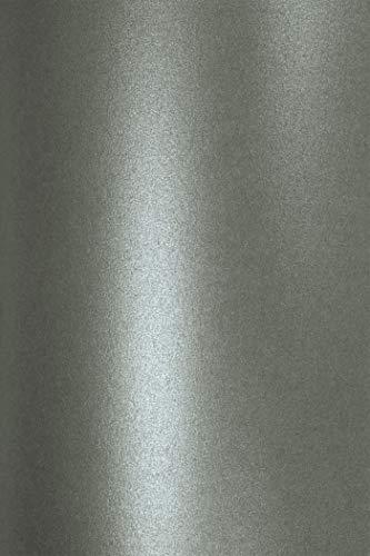 Netuno 10x Perlmutt-Dunkel-Grau 120g Papier DIN A4 210x297 mm Aster Metallic Grey doppelseitig schimmernd Perlglanz Metallic-Effekt Pearlpapier Glanzpapier für Inkjet und Laser Drucker
