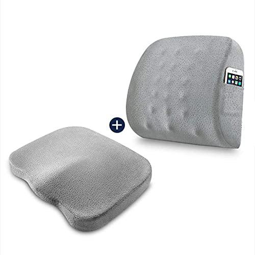 Worth having - Los cojines de asiento de espuma de memoria y el soporte lumbar proporcionan alivio for el dolor de espalda baja ciático de la ciática almohada de asiento ortopédico for la silla de ofi