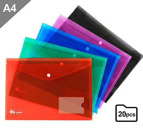 Agoer Dokumententaschen A4 farbig 20 Stück A4 Dokumententasche Sichttaschen mit druckknopf und Kleine Tasche für Dokument Speicherung, 5 Farben