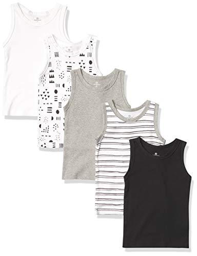 HonestBaby Muscle Tee Sleeveless T-Shirt Multi-Packs, 5-Pack Pattern Play, 24 Months