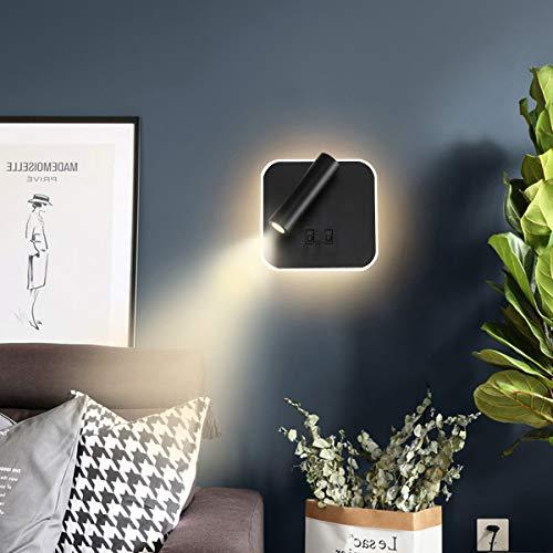 TWSXTE Bañador de pared Dormitorio Interruptor volvible apliques de lectura de pared cama Iluminación de Pared cabecera 360 gradosgiratoria Blanco/Blanco Cálido 3000K (3W + 9W) (Cuadrado Negra)
