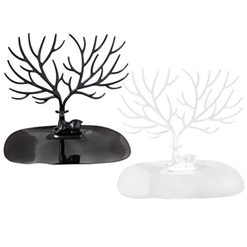 TOPBATHY 2 soportes de plástico con forma de coral para exhibición de joyas, organizador para anillos, pendientes, collares (negro, blanco)