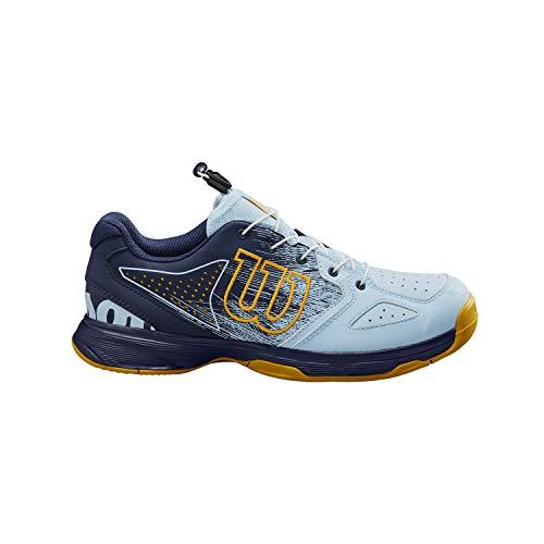 Wilson Kaos Junior QL, Zapatillas de Tenis, para Todo Tipo de Superficie, Tenistas de Cualquier Nivel, Azul Oscuro/Azul Claro/Dorado, 33 2/3 EU