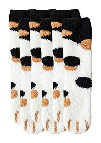 YMING Damen Winter Indoor Socken Katzen Klauen Socken Korallen Fleece Socken Schwarze Punkte