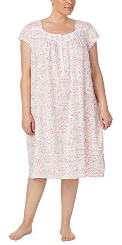 Eileen West Plus Rayon Nightgowns - Cap Sleeve in Hillside Meadow (White/Multi Floral, 3X)