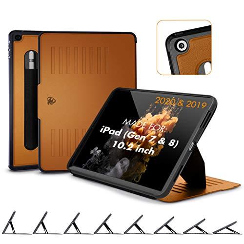 ZUGU iPad 10.2 Hülle 2020 / 2019, schlanke Schutzhülle für die iPad8 / iPad7, 8 Winkel-Ständer magnetisch, Stifthalter, Auto Sleep /Wake UP [Braun]