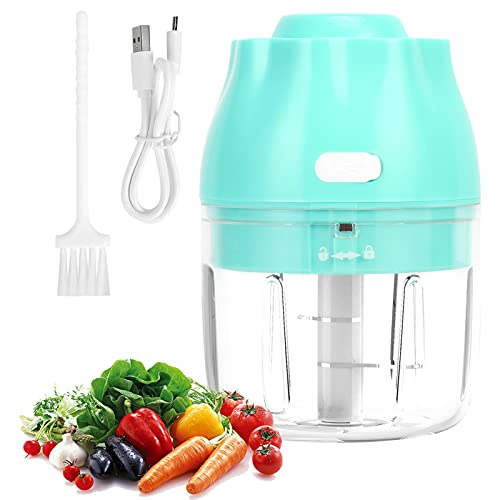 Somerway 250ml Electric Mini Food Chopper, Electric Garlic Processor, Cordless Portable Waterproof Food Mixer USB Charging Garlic Vegetable Processor for Kitchen Meat Vegetables Sky Blue