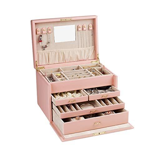 Uhrenbox Schmuck-Box for Frauen Groß, Fünf Etagen Schmuck Storage Box, for Armbänder, Ohrringe, Ringe, Halsketten, Uhr, Personalisierte Schmuck-Box (Color : A)