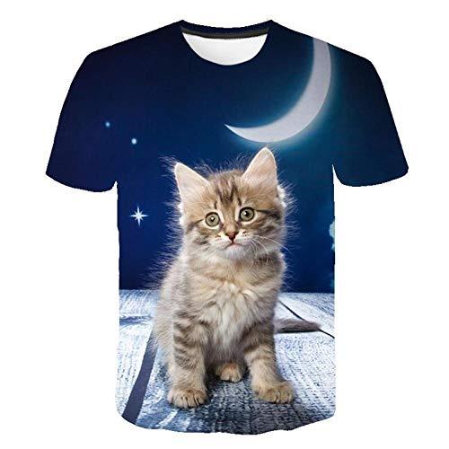 3D Gato Impreso Camiseta Hombres/Mujeres Verano Divertido Manga Corta Tops Ocasional O-Cuello Animal Camiseta Cat Streetwear Tshirt-Color 5_XXL