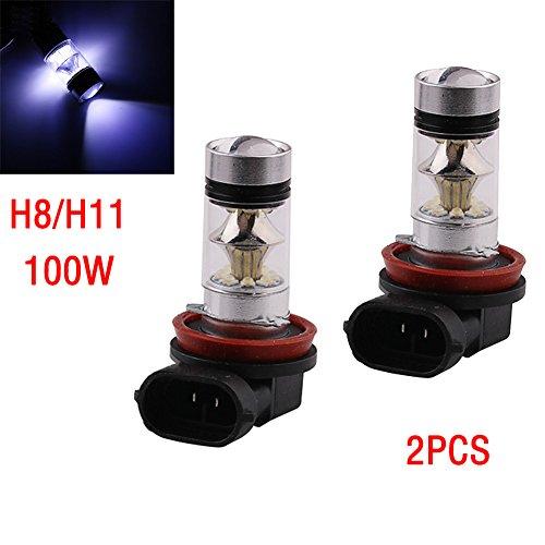 Ebilun 2PC H8/H11 Super Bright 2828smd 100 W LED de voiture DR ampoule de brouillard Phare ampoule lampe à 360 ° Angle de faisceau de lumière sans lumière d'ombre
