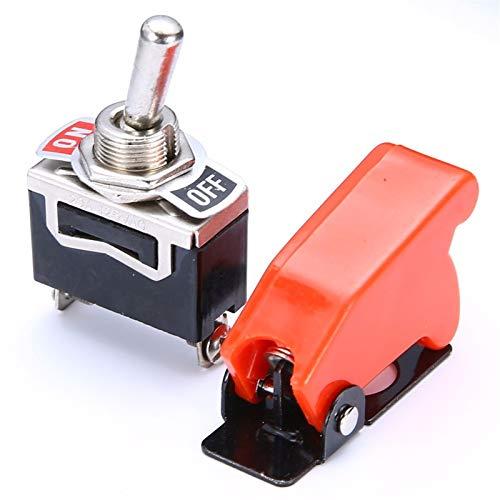 LICHONGUI 1 Set Cubierta del Interruptor de la Palanca del automóvil ON/Off SPST Toggle Switch CUERCAMENTO DE METÁLICO Coche Dash Light con Cubierta de misiles