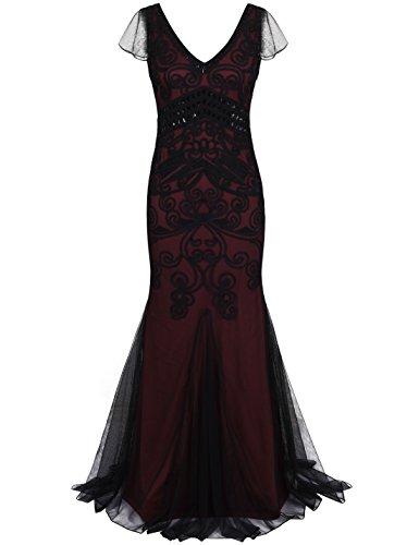prett yguide Mujer años veinte Gatsby Ball vestido larga formelle sirena para vestido de noche Burgund mit Ärmel S