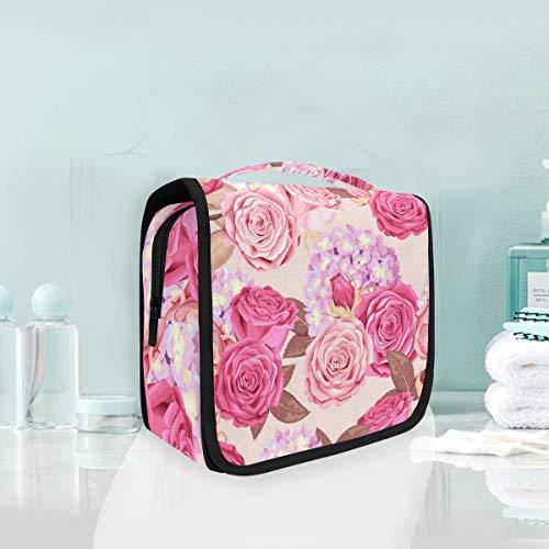 Trousse de maquillage de maquillage Rose Flower Portable Storage Travel Trousse de toilette
