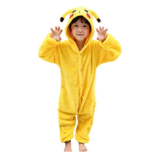 Pigiama costume intero animali unicorno flanella Halloween cosplay regalo per ragazze ragazzi bambini (S, Pikachu)