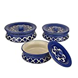 DekorGhar Pure Ceramic Handi Set with lid, Set of 3 | Handpainted Legend Blue Color| Serving Bowl/Donga Set | 100% Food Grade Microwave Safe, Oven Safe