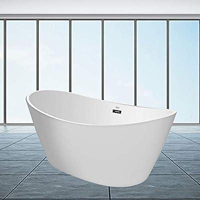Empava Made in USA 67 Inch Luxury Freestanding Bathtub Acrylic Soaking SPA Tub FT1518W, FT518
