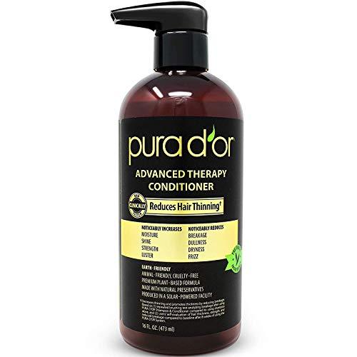 Pura D'Or Advanced therapy conditioner augmente l'humidité et la force, imprégné d'argan bio prime oil & aloe vera, 473 ml