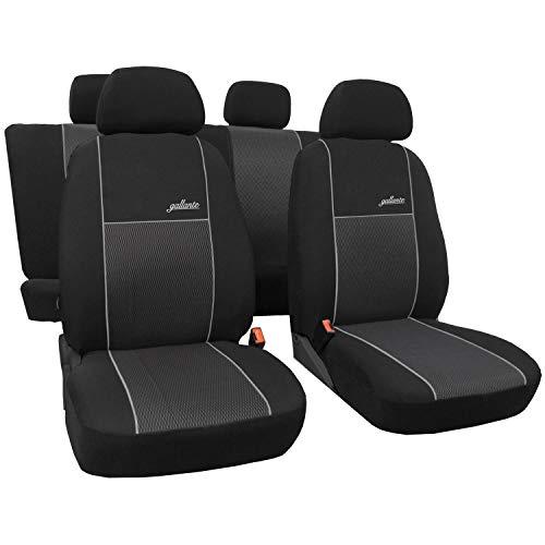 saferide | Poliéster Negro 5-Silla Fundas de Asiento para el Coche Cubiertas de Auto Delantero y Trasero Accerios Interiores Protector