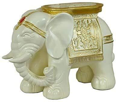 YANRUI Estatua de Elefante de Resina Animal Escultura casero Taburete Zapato heces decoración decoración artesanía Modelo estatuillas Sala de Estar decoración Accesorios (Color : A)