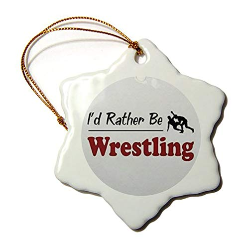 Jeartyca Novelty Decoration Rather Be Wrestling Christmas Ornaments Ceramic Star Christmas Tree Hanging Keepsake 3 Inches Both Sides