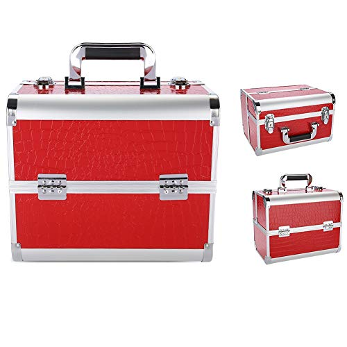 Density Multifunctional High Hardness Cosmetic Bag, Comfortable Handle Tool Bag, Red, Silver for Place Cosmetics Double-decker Storage Cosmetic(Red crocodile pattern)