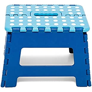 Step Stool, with Handle, Practical, Portable, Foldable Foot Stool with Anti-slip for Kids and Adults, Ideal for Home, Kitchen, Children, Toddlers, Bathroom, Toilet, Height 22cm in Pink, Blue, Black (blue):Thecricketmaster