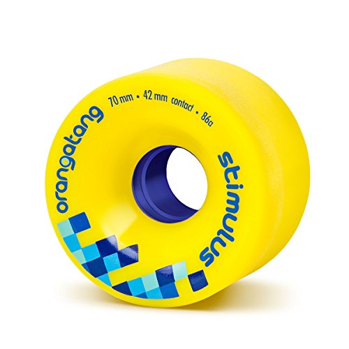 Orangatang Stimulus 70 mm 86a Freeride Longboard Skateboard Wheels (Yellow, Set of 4)