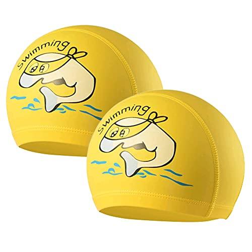 2 Cuffie da nuoto per bambini - Cuffie da nuoto con motivo a delfini maschili e femminili - Tessuto impermeabile per cuffie da nuoto - Spiaggia o piscina (giallo)
