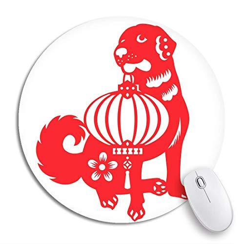 Runder Mausblock Abstrakter roter geschnittener Hund, der chinesische Laternen-Sternzeichen-Symbole trägt Rutschfeste Gummibasis-Mausmatte-Spiel-Mauspad für Computer