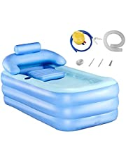 LTQ Vapor Opblaasbare badkuip van kunststof, draagbaar opvouwbaar badkuip met pedaal, blauw
