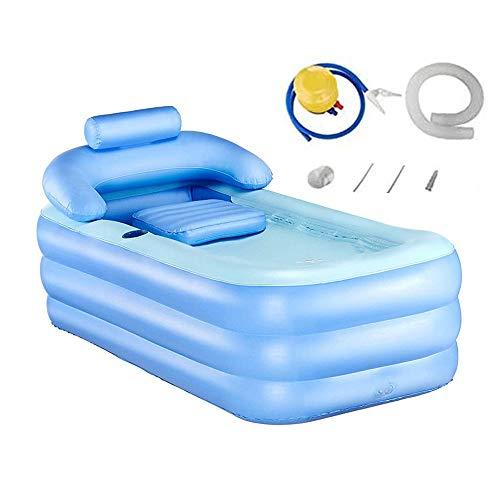 Tech-l Inflatable Badewanne Kunststoff Tragbare Faltbare Badewanne Einweichbadewanne Home SPA Badewanne mit Pedal Luftpumpe, blau