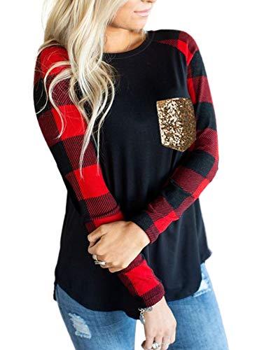 LOSRLY - Camiseta de manga larga para mujer, cuello de barco, dobladillo irregular