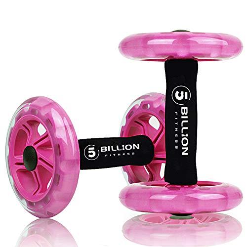 5BILLION AB Wheel Roller & Rueda Abdominal - Double AB Wheel - Entrenamiento para Abs, Espalda, Brazos, Hombros, Torso, Caderas - Libre Cojín del Arrodillamiento (Rosado)