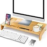 Soporte de Monitor Bamboo Amada con Ranuras para Teléfono y Muescas de Lápiz para Ordenador de Oficina y Casa, Computadora Portátil, Televisor, Tableta, Impresora, Proyector