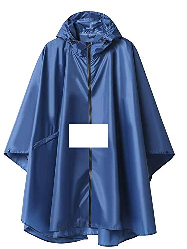 SB1 Rain Poncho with Transparent Front Pocket - Full Hooded Rain Gear for Men and Women - Foldable Waterproof PU Raincoat with Zipper - Best for Motorcycle Travel, Hiking, Fishing, Camping, Survival